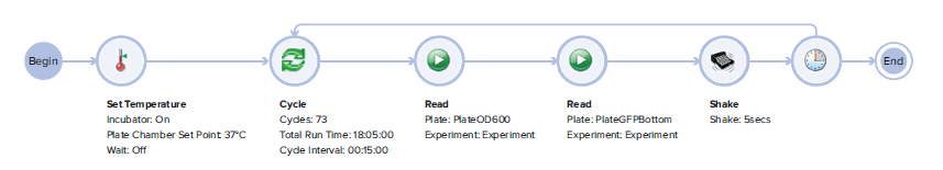 Workflow Editor for a dual read mode kinetic reading